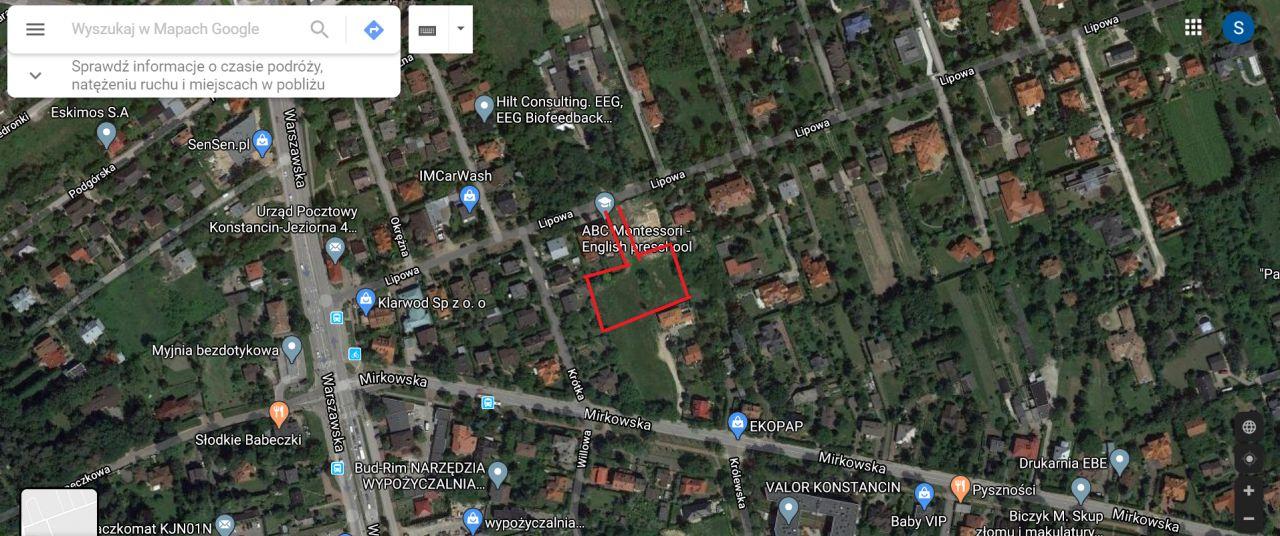 Działka budowlana Konstancin-Jeziorna Klarysew, ul. Lipowa