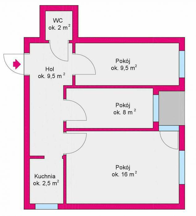 Mieszkanie 3-pokojowe Olsztyn, ul. Jasna 3